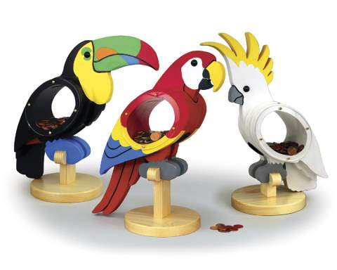 Tropical Bird Coin Banks Woodworking Plans.