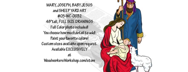 Mary Joseph Baby Jesus and Sheep Nativity Yard Art Woodworking Pattern