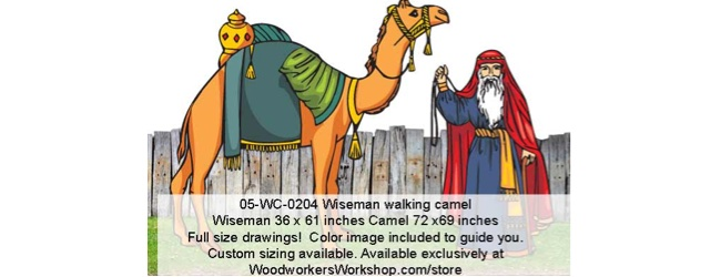 Wiseman Walking Camel Yard Art Woodworking Pattern