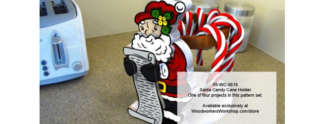 Santa and Elf Candy Cane Paper Towel Holder Scroll Woodworking Pattern