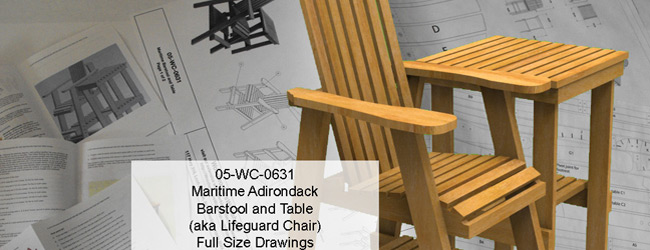 Maritime Barstool and Table Full Size Woodworking Plans