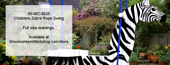 Childrens Zebra Rope Swing Woodworking Plan