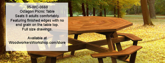 Octagon Picnic Table with removable top Woodworking Plan