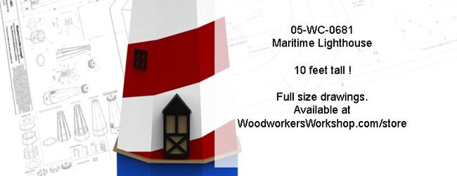 Maritime Lighthouse 10 ft tall Full Size Woodworking Plans