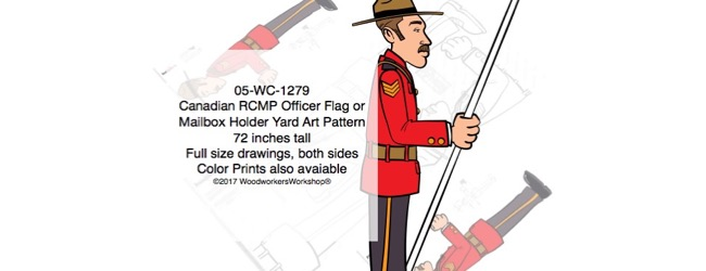 Canadian RCMP Officer Flag Holder or Mailbox Holder Yard Art Pattern