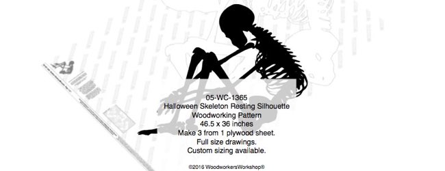 Skeleton Resting Silhouette Halloween Yard Art Woodworking Pattern