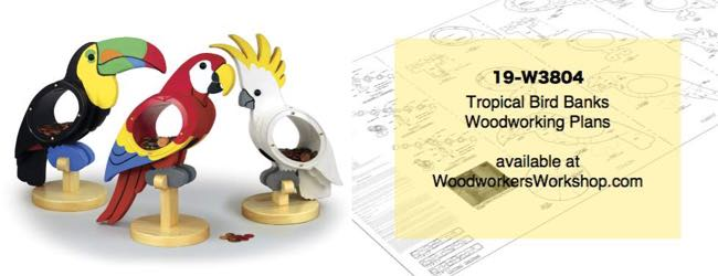 Tropical Bird Coin Banks Woodworking Plans