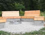 Fire Pit Wood And Cinder Block Benches