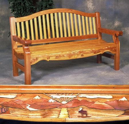 04-FS-135 - Garden Bench with Inlay Woodworking Project Plan.