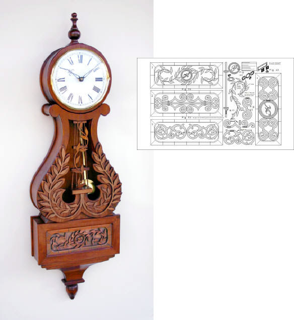 Lyre Wall Clock Woodworking Plan.
