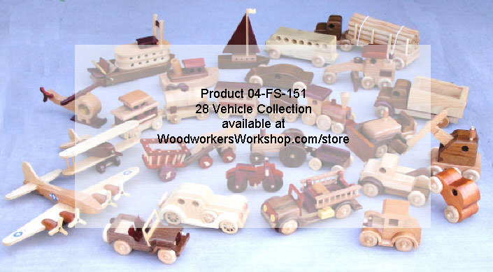 First Toys Collection - all 28 vehicle woodworking plans included.
