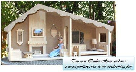 Barbie Dollhouse 2 rooms Woodworking Plan.