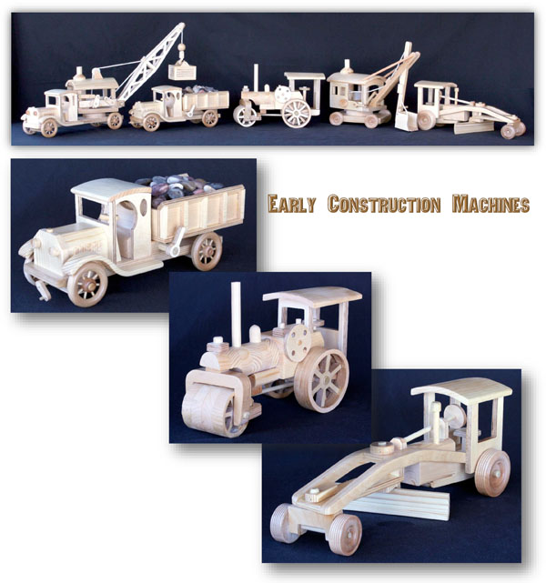 Early Construction Vehicles Woodworking Plan Set