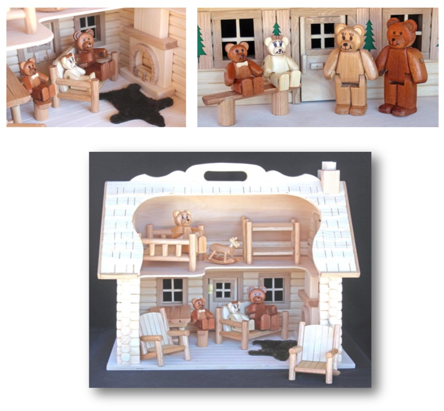 Bear Doll Log Cabin Woodworking Plan.