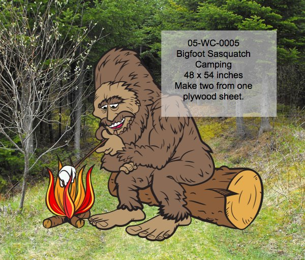 Bigfoot Sasquatch Camping Yard Art Woodworking Pattern