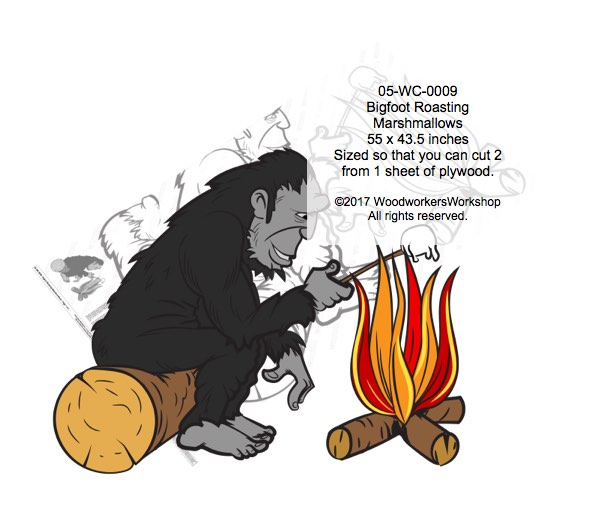 05-WC-0009 - Bigfoot Sasquatch Roasting Marshmallows Yard Art Woodworking Pattern.