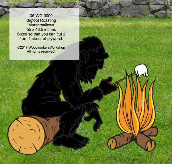 Bigfoot Sasquatch Roasting Marshmallows Yard Art Woodworking Pattern.