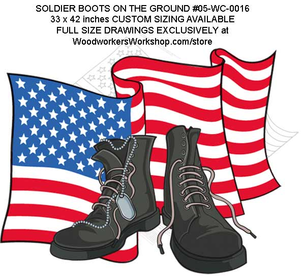 Soldier Boots on the Ground Yard Art Woodworking Full Size Plans