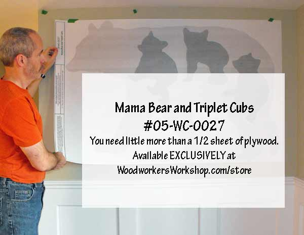 Mama Bear and Triplet Cubs Full Size Yard Art Patterns
