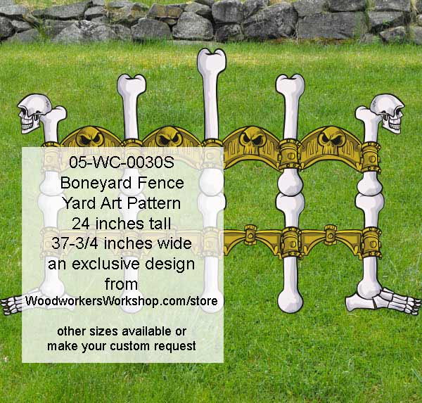 Boneyard Fence Halloween Yard Art Woodworking Pattern - 24 inches tall