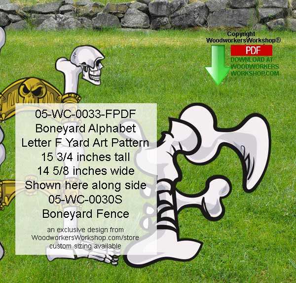 Boneyard Letter F Yard Art Woodworking Pattern