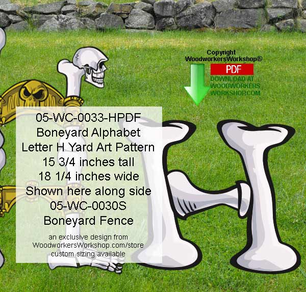 Boneyard Letter H Yard Art Woodworking Pattern