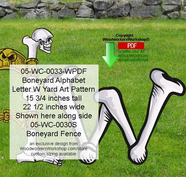 Boneyard Letter W Yard Art Woodworking Pattern