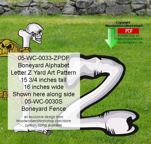 Boneyard Letter Z Yard Art Woodworking Pattern