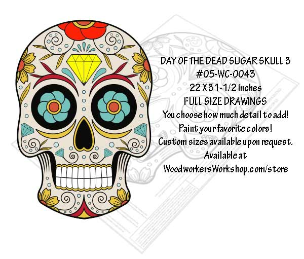 Sugar Skull No. 3 Yard Art Woodworking Pattern