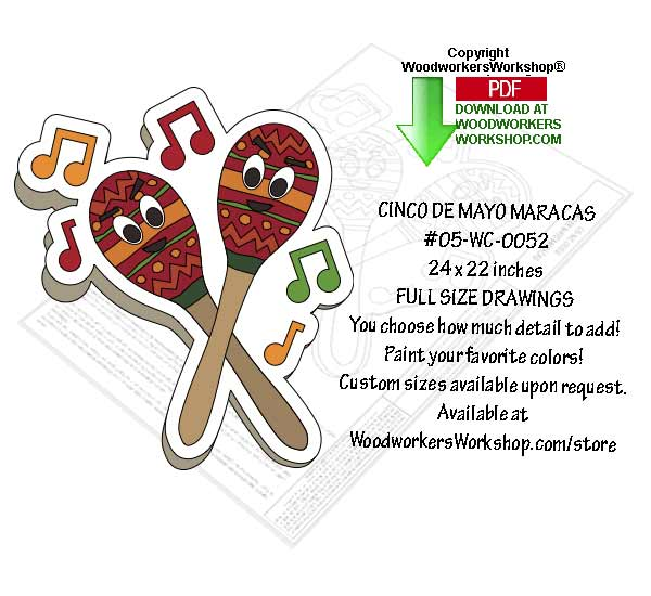 Cinco De Mayo Maracas Yard Art Woodworking Pattern