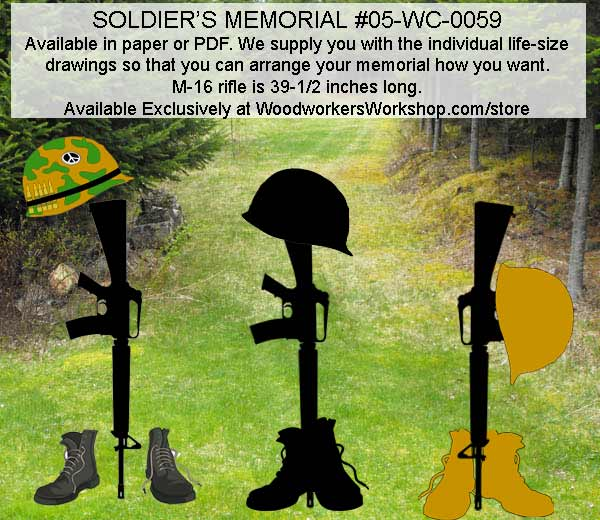 Kneeling Soldier at Fallen Soldiers Cross Yard Art Silhouette Pattern
