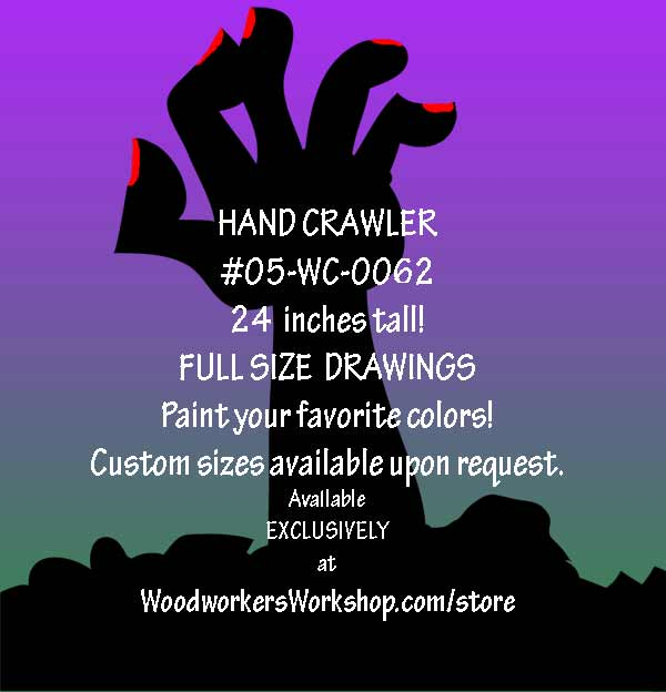 Hand Crawler Halloween Yard Art Woodworking Pattern woodworking plan