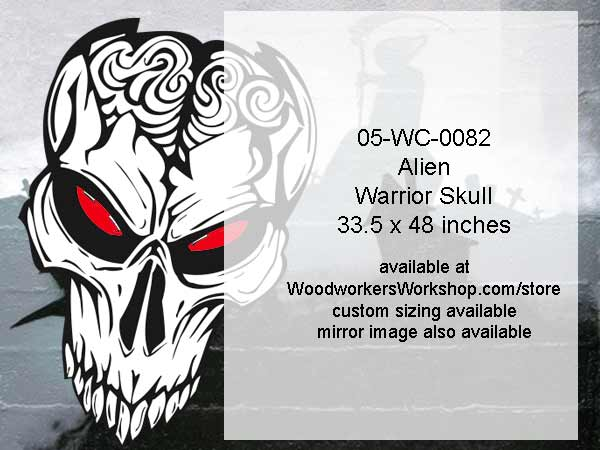 Alien Warrior Skull No. 6 Yard Art Woodworking Pattern
