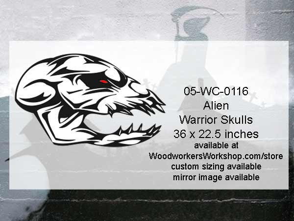05-WC-0116 - Alien Warrior Skull Yard Art Woodworking Pattern