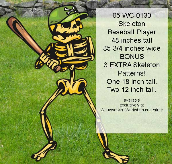 05-WC-0130 - Skeleton Baseball Player Yard Art Woodworking Pattern