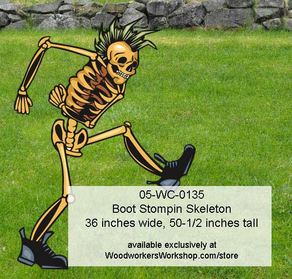 Boot Stompin Skeleton Halloween Yard Art Woodworking Pattern