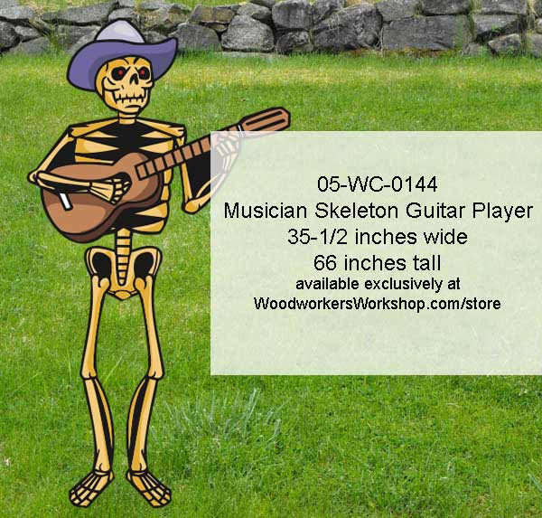 Musician Skeleton Guitar Player Yard Art Woodworking Pattern