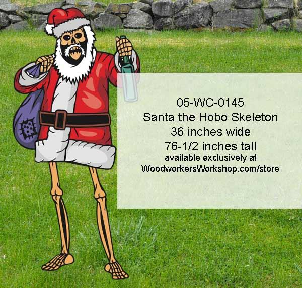 Santa The Hobo Skeleton Halloween Yard Art Woodworking Pattern Woodworkersworkshop