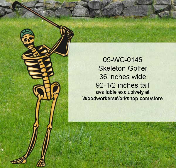 Skeleton Golfer Yard Art Halloween Woodworking Pattern