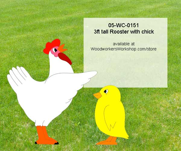 3ft tall Rooster with Chick Yard Art Woodworking Pattern