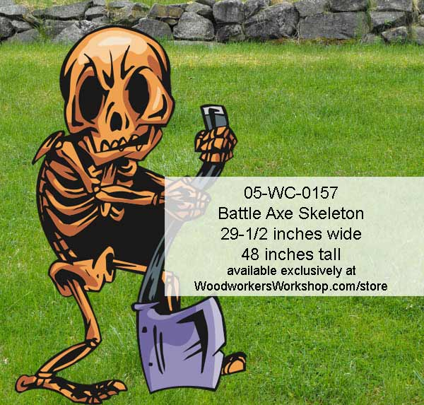 Battle Axe Skeleton Yard Art Woodworking Pattern