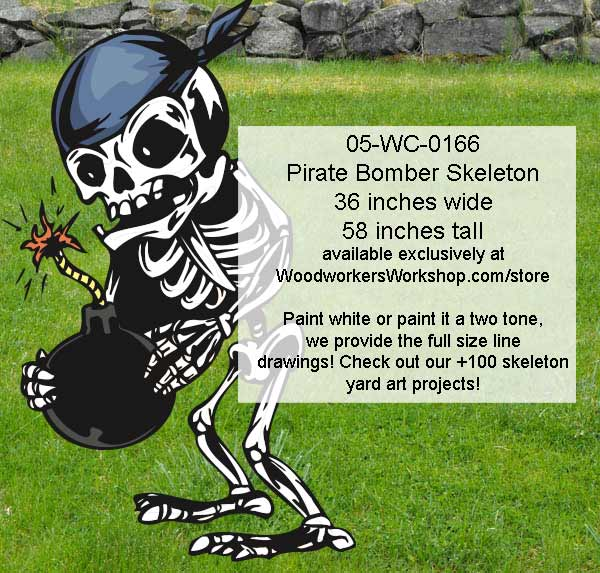 Pirate Bomber Skeleton Yard Art Woodworking Pattern