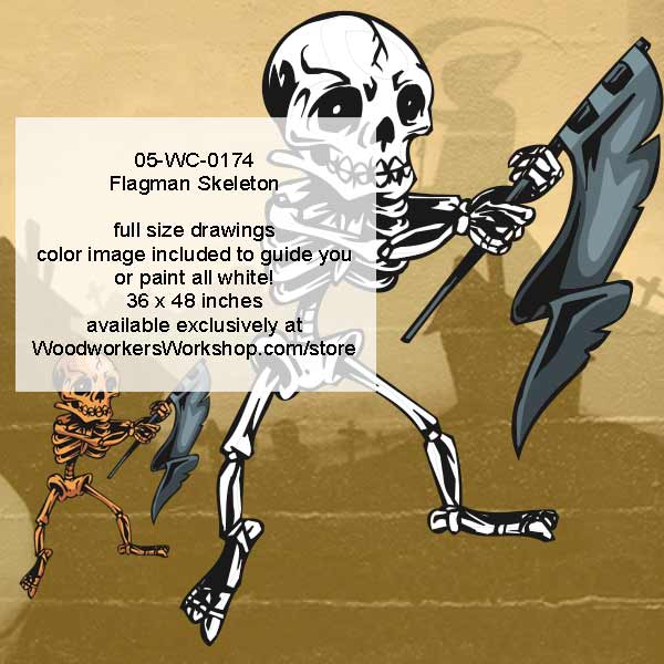 Flagman Skeleton Yard Art Woodworking Pattern