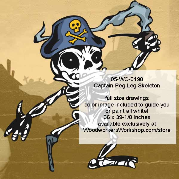 Captain Peg Leg Skeleton Halloween Woodworking Plan Downloadable