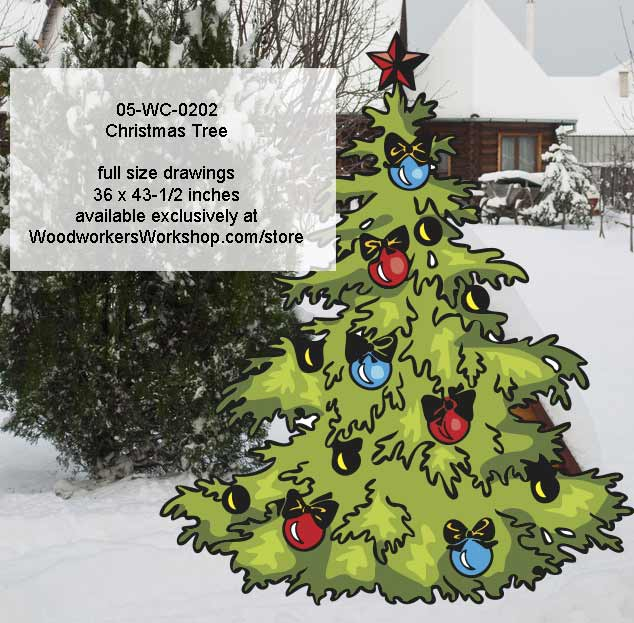 05 wc 0202 christmas tree yard art woodworking pattern for Christmas wood yard art patterns