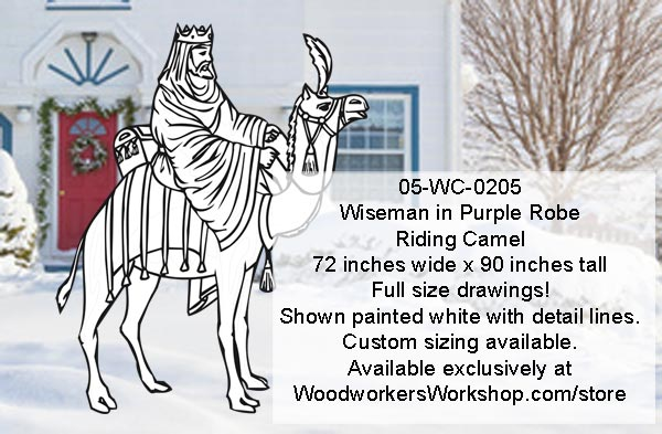 05-WC-0205 - Wiseman in Purple Robe Riding Camel Yard Art Woodworking Pattern