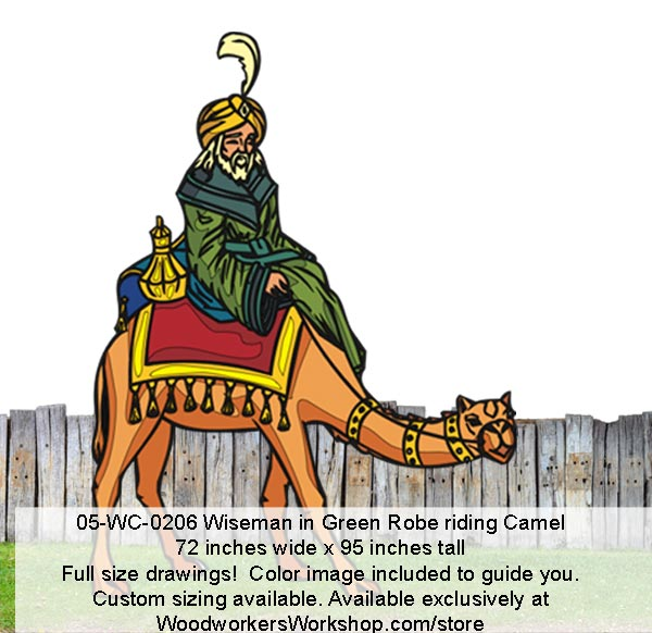 Wiseman in Green Robe Riding Camel Yard Art Woodworking Pattern