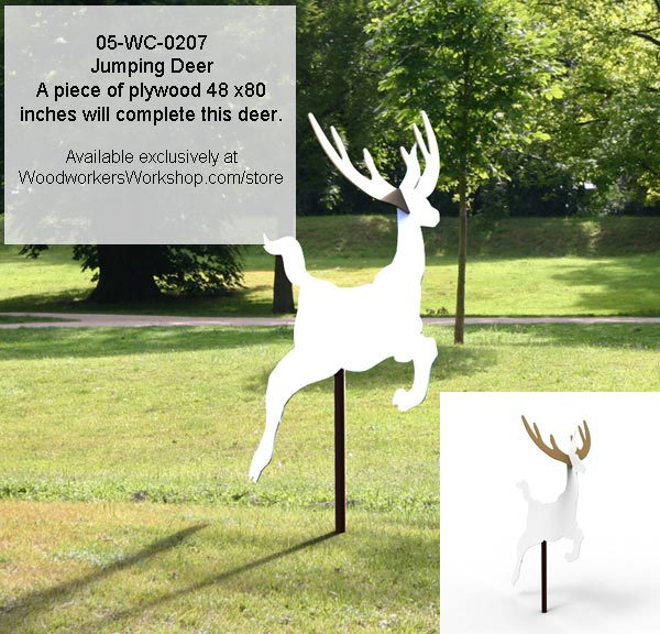 Jumping Deer Yard Art Woodworking Pattern woodworking plan