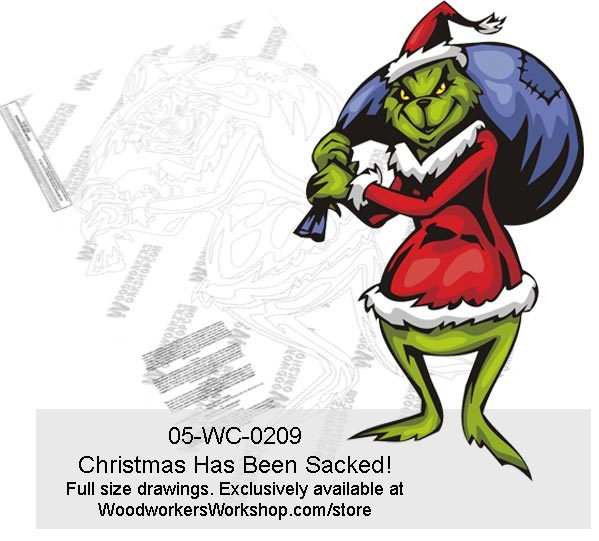 05-WC-0209 - Christmas Has Been Sacked! Yard Art Woodworking Pattern