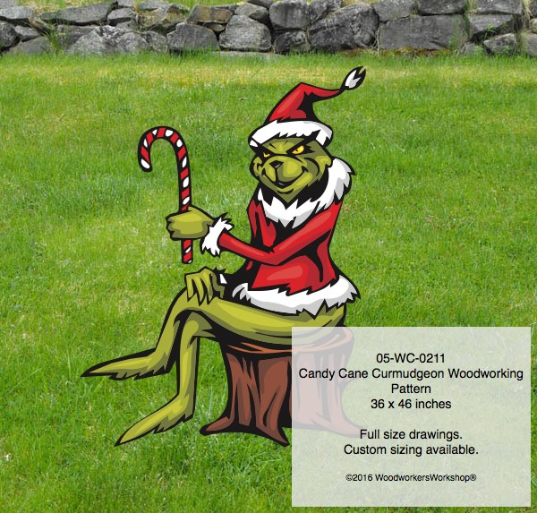 Candy Cane Curmudgeon Yard Art Woodworking Pattern